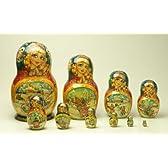 華麗な色彩! 高級マトリョーシカ! ぱっちりした目のロシア美人 若い家族 花柄 10個組 ロシア製