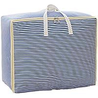 綿のリネンの収納袋ブルーストライプのパターン高品質のポータブル防湿トラベルオーガナイザー羽毛布団の衣服移動仕上げ荷物の収納袋 (サイズ さいず : 49 * 40 * 24cm)