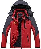 『TACVASEN マウンテンパーカー メンズ 裏ボア コート スキーウェア 保温 シェルジャケット 裏起毛 多機能 ジャンパー フリース 保温 赤い 2XL』画像