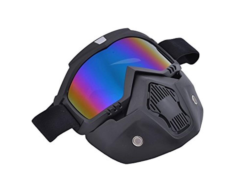 Osize PanpAレトロフェイスマスクゴーグル(オープンフェイスヘルメット用)オフロードライディングフルフェイスゴーグル取り外し可能ゴーグル(カラフル)