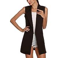 plage 2019 Turn Down Collar Vest for Women Slim Elegant Long Vest Cardigan Ol Commuter Vest,Black,L,United States