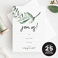 Bliss Paper Boutique 25枚の招待状 封筒付き あらゆる機会に 緑の招待状 結婚式、ブライダルシャワー、婚約、誕生日パーティーや特別なイベントに最適 素朴な招待状入り