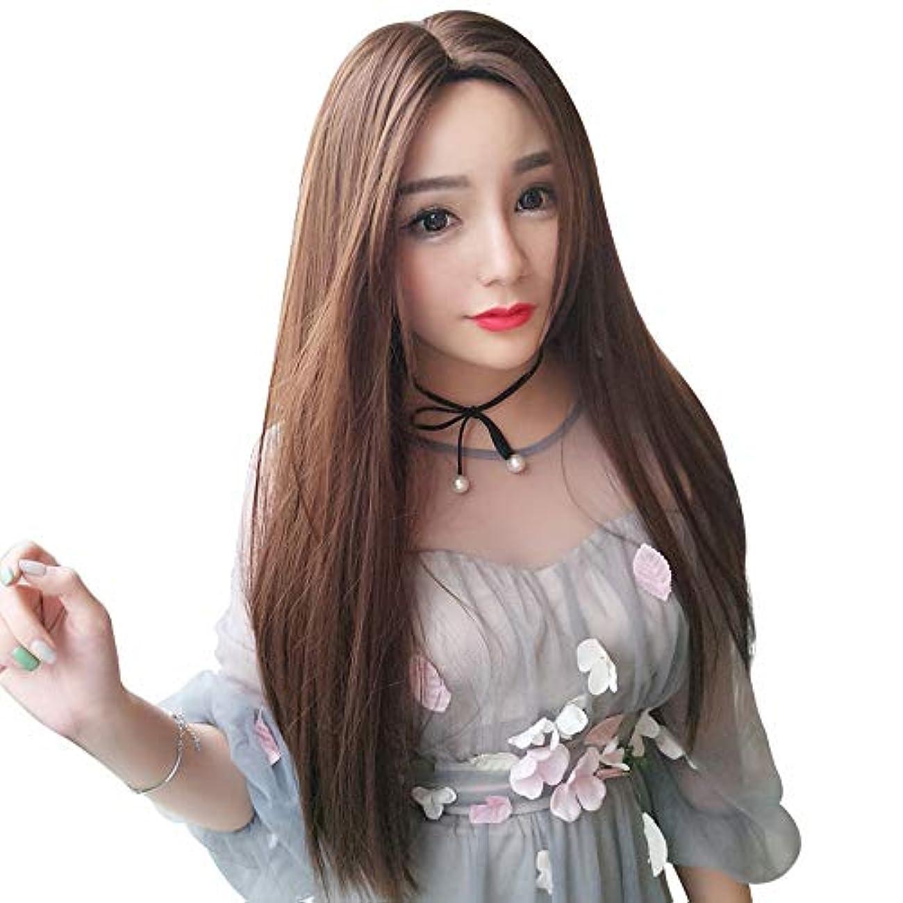 話す思い出させる間違いなくSRY-Wigファッション 前髪耐熱髪の女性アフロロングストレートかつらのファッションチョコレート合成レースフロントかつら