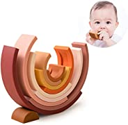 let's make 10 Pieces Rainbow Building Blocks Silicone Compass Stacking Game Tan Semicircular Building Bloc