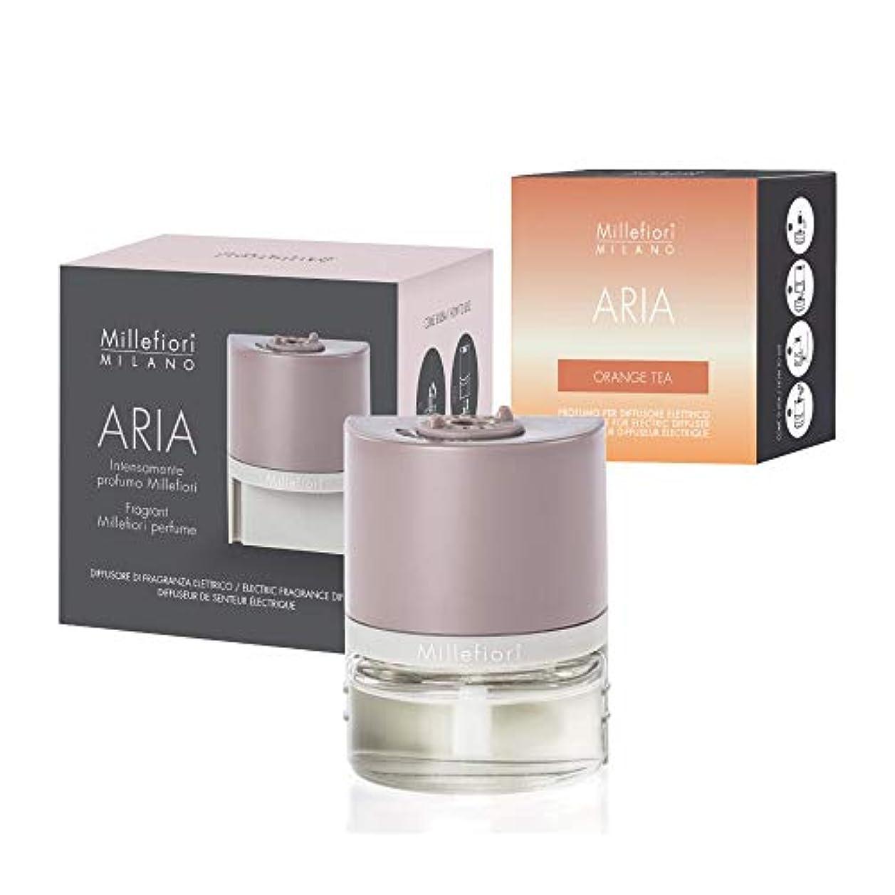 魅力塩暴力的なMillefiori [ARIA] プラグインタイプ フレグランスディフューザー セット(ARIA本体+専用リフィル) オレンジティー ARIA-S-06