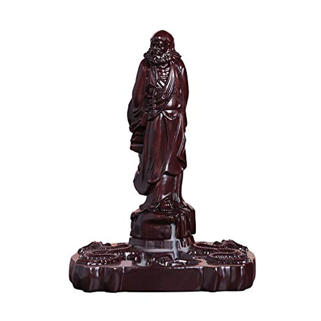 PHILOGOD マホガニー香炉 ダルマ 菩提 香立て ダルマ 木彫り工芸品逆流香炉 お香 ホルダー 香皿