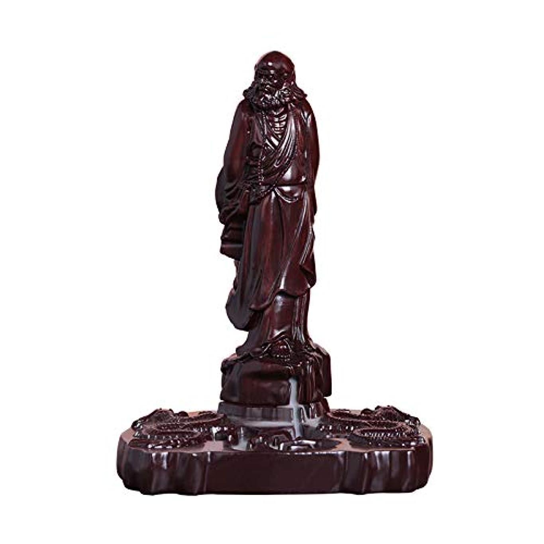 宣言するポテト同封するPHILOGOD マホガニー香炉 ダルマ 菩提 香立て ダルマ 木彫り工芸品逆流香炉 お香 ホルダー 香皿