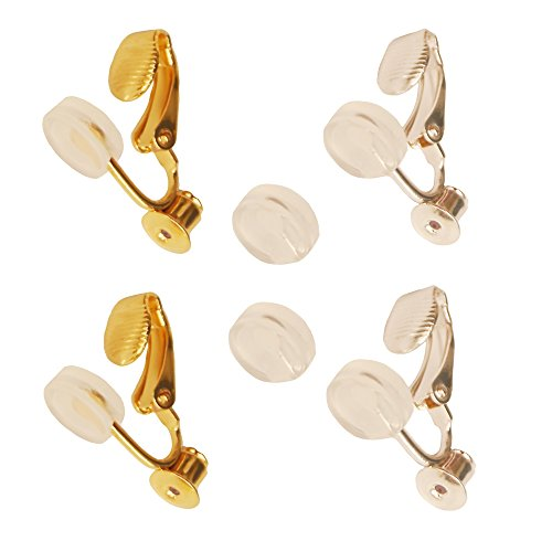 イヤリングコンバーター(クリップ式)シリコンカバー付き ゴールド&シルバーセット/ ピアスをイヤリングに変更 スタッドピアス