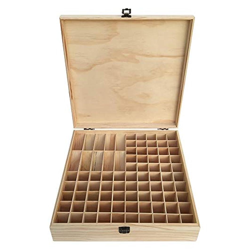 グローバル肩をすくめる脇に大85スロット木製のエッセンシャルオイルストレージボックスナチュラルパインウッド アロマセラピー製品 (色 : Natural, サイズ : 35X35X9CM)