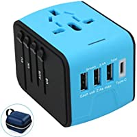 OceanWave B07X Universal Travel Adapter with 3 USB & 1xType-C 3.4A Charger, 1 piece (Blue)