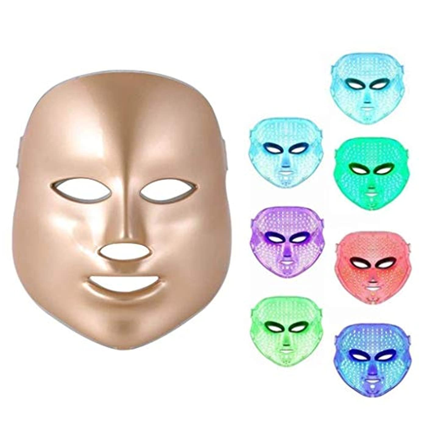誓い腹痛アルファベット順Sooger LEDマスク 7色Ledフォトマスク LEDマスク アンチエイジング若返りマシンスパ機器を白くするにきびスポットしわ にきび 斑点 にきび 肌のシミSPA女性 フェイシャルスキンケア、アンチエイジングビューティー Golden ゴールド Led マスク