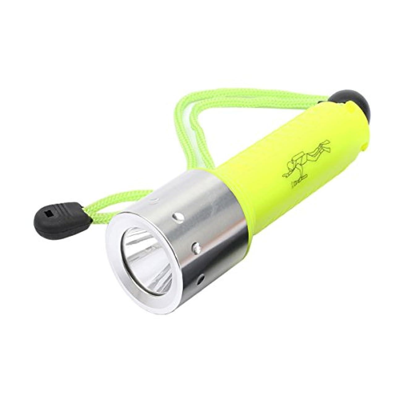 一族歴史的懐JVSISM フラッシュライト懐中電灯 ランプライト アンダーウォーター水中 x M-L T6 LED 4000LM ウォータープルーフ防水ダイビングトーチ、蛍光グリーンカラー