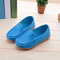Children Shoes PU Leather Soft Comfortable Loafers Slip Kids Shoes, Size:33(White) Children Shoes (Color : Blue)