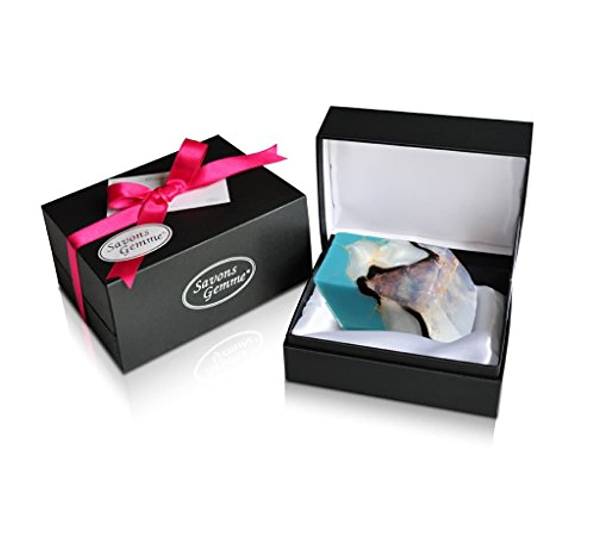 褐色深めるでるSavons Gemme サボンジェム ジュエリーギフトボックス 世界で一番美しい宝石石鹸 フレグランス ソープ ターコイズ 170g
