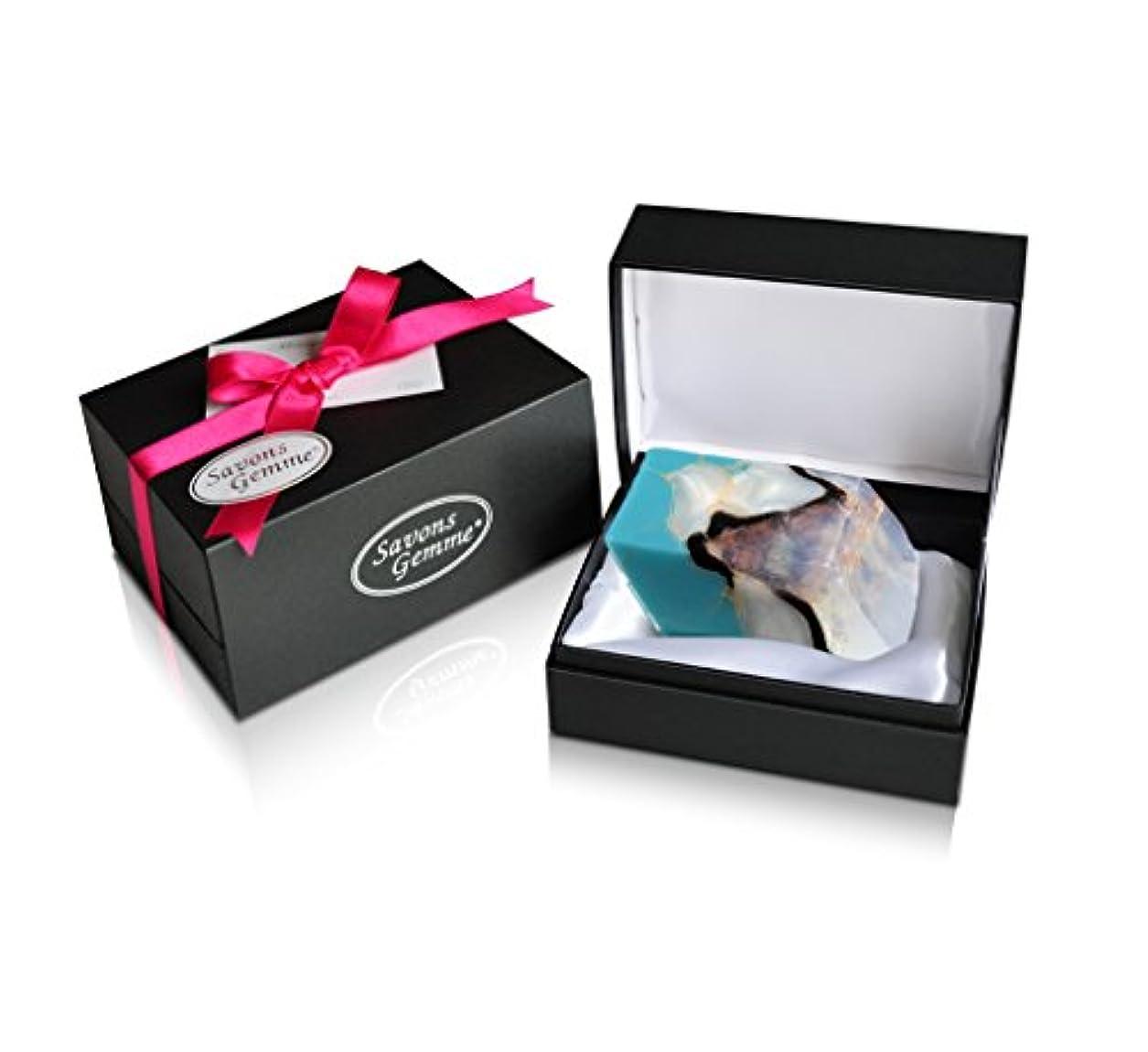 リー気配りのある細胞Savons Gemme サボンジェム ジュエリーギフトボックス 世界で一番美しい宝石石鹸 フレグランス ソープ ターコイズ 170g