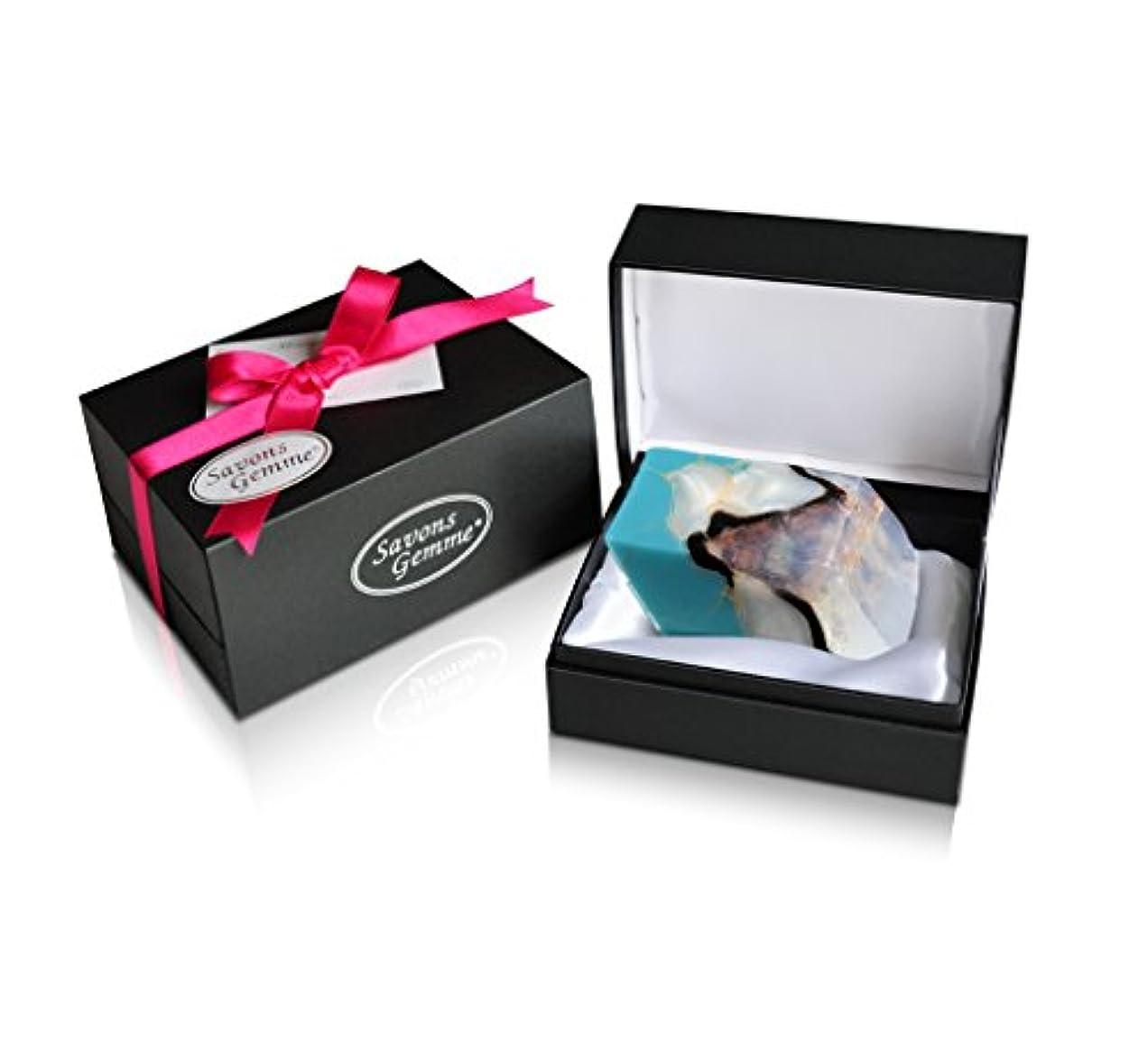 花弁パテ疲れたSavons Gemme サボンジェム ジュエリーギフトボックス 世界で一番美しい宝石石鹸 フレグランス ソープ ターコイズ 170g