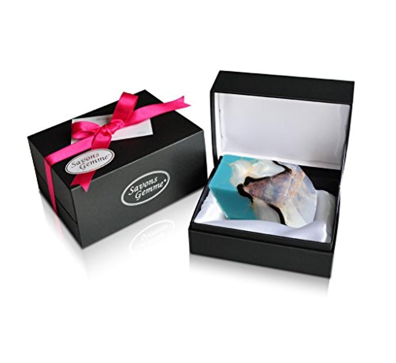 ホールド敏感な概してSavons Gemme サボンジェム ジュエリーギフトボックス 世界で一番美しい宝石石鹸 フレグランス ソープ ターコイズ 170g