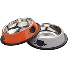 Cat Bowl, Legendog 2 Pack Pet Bowl Stainless Steel Cat Food Bowl with Non Slip