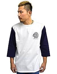 4833 BADASS バダス 7分袖Tシャツ INDIAN BBTEE ベースボールTシャツホワイト×ネイビー
