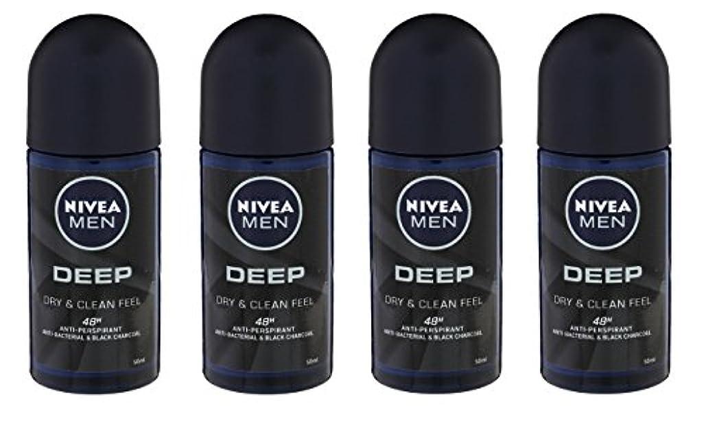 滴下によってマウンド(Pack of 4) Nivea Deep Anti-perspirant Deodorant Roll On for Men 50ml - (4パック) ニベア深い制汗剤デオドラントロールオン男性用50ml