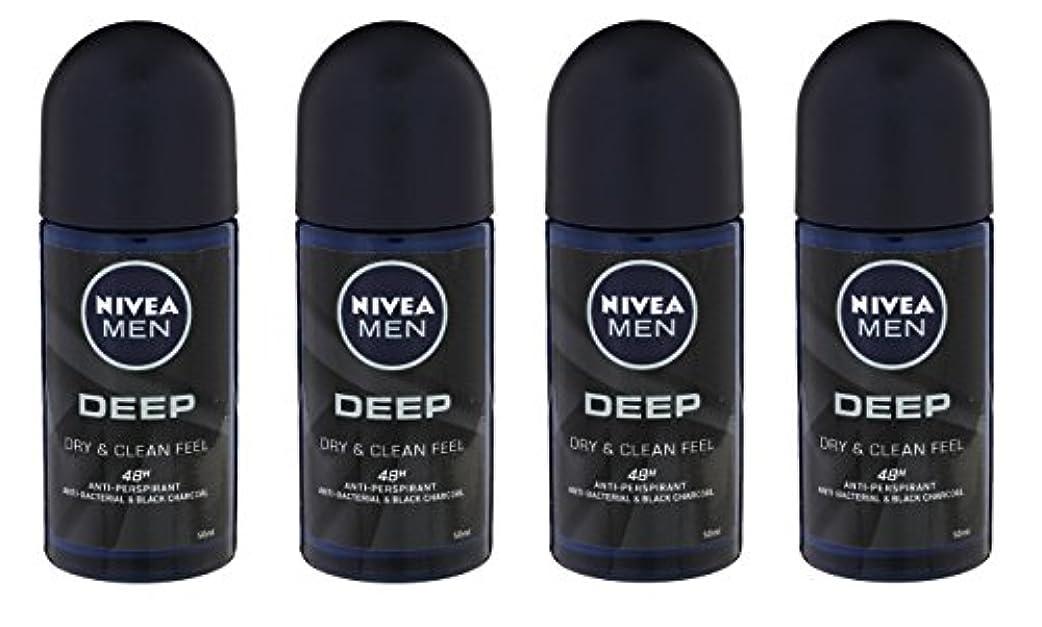 つぼみ意見二週間(Pack of 4) Nivea Deep Anti-perspirant Deodorant Roll On for Men 50ml - (4パック) ニベア深い制汗剤デオドラントロールオン男性用50ml