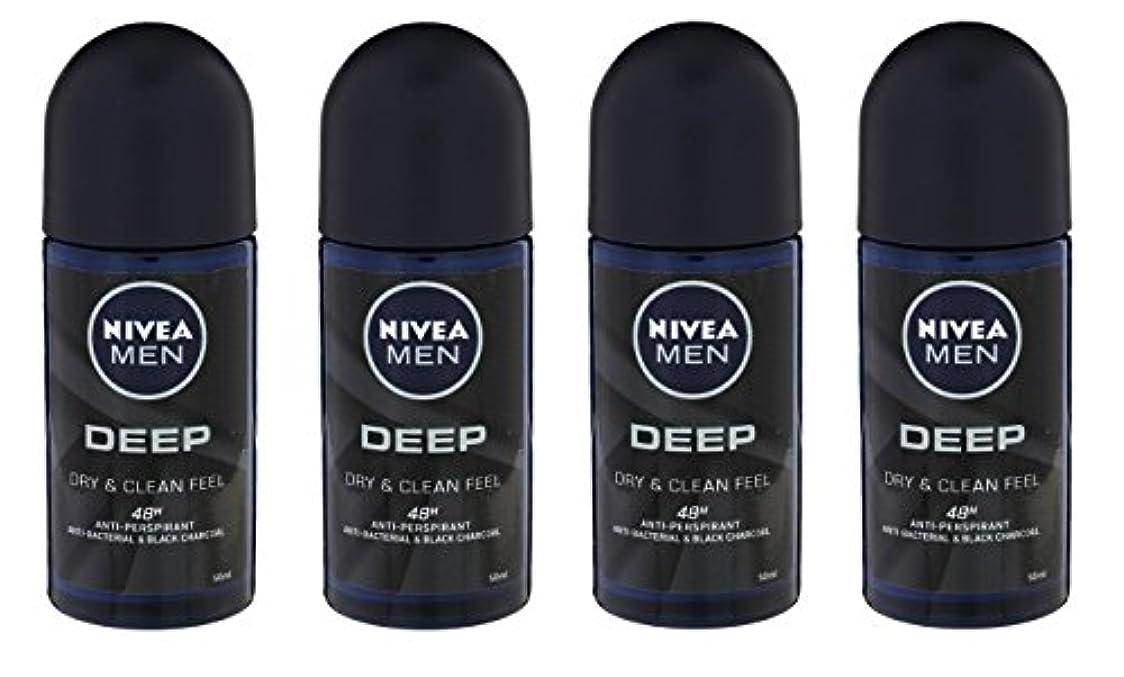 前文想定ピアノを弾く(Pack of 4) Nivea Deep Anti-perspirant Deodorant Roll On for Men 50ml - (4パック) ニベア深い制汗剤デオドラントロールオン男性用50ml