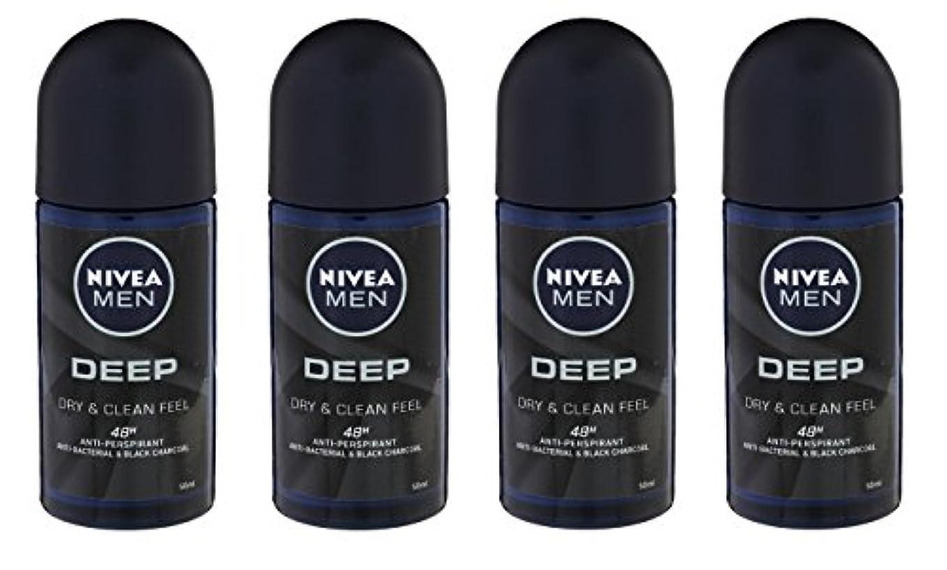 実験をするペニー価値(Pack of 4) Nivea Deep Anti-perspirant Deodorant Roll On for Men 50ml - (4パック) ニベア深い制汗剤デオドラントロールオン男性用50ml