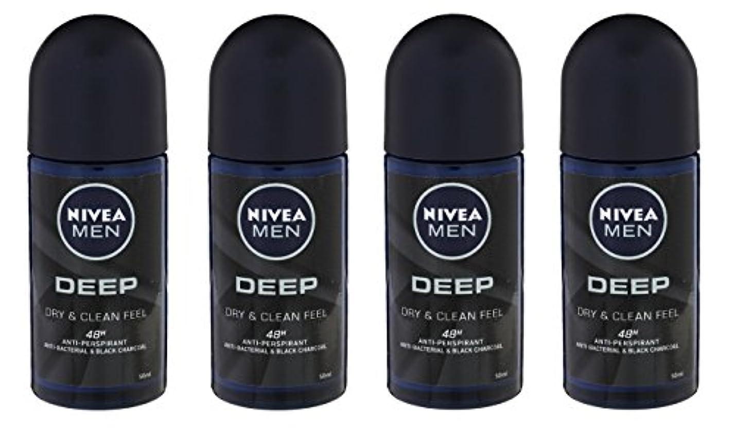 (Pack of 4) Nivea Deep Anti-perspirant Deodorant Roll On for Men 50ml - (4パック) ニベア深い制汗剤デオドラントロールオン男性用50ml