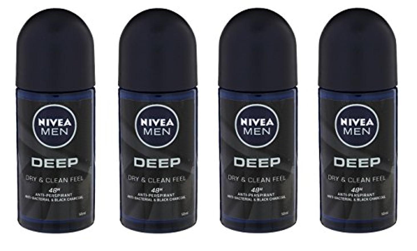 石の家事あごひげ(Pack of 4) Nivea Deep Anti-perspirant Deodorant Roll On for Men 50ml - (4パック) ニベア深い制汗剤デオドラントロールオン男性用50ml