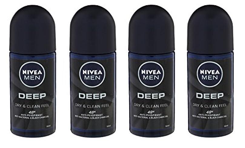 起点分数習慣(Pack of 4) Nivea Deep Anti-perspirant Deodorant Roll On for Men 50ml - (4パック) ニベア深い制汗剤デオドラントロールオン男性用50ml