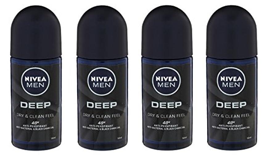 高齢者サーバント航空機(Pack of 4) Nivea Deep Anti-perspirant Deodorant Roll On for Men 50ml - (4パック) ニベア深い制汗剤デオドラントロールオン男性用50ml