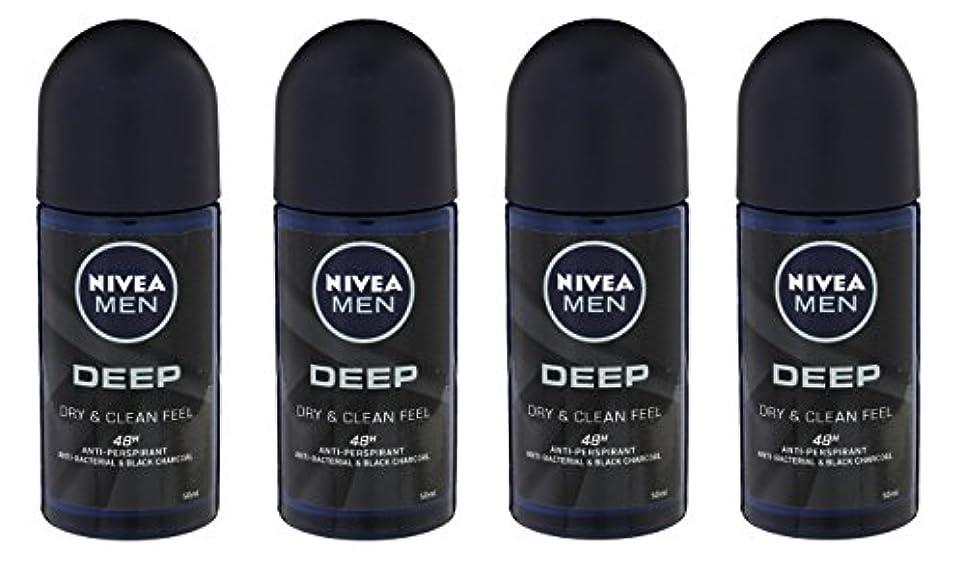 小さな知り合い転倒(Pack of 4) Nivea Deep Anti-perspirant Deodorant Roll On for Men 50ml - (4パック) ニベア深い制汗剤デオドラントロールオン男性用50ml
