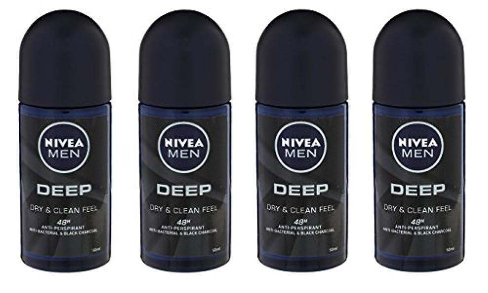 大声でシットコム完了(Pack of 4) Nivea Deep Anti-perspirant Deodorant Roll On for Men 50ml - (4パック) ニベア深い制汗剤デオドラントロールオン男性用50ml