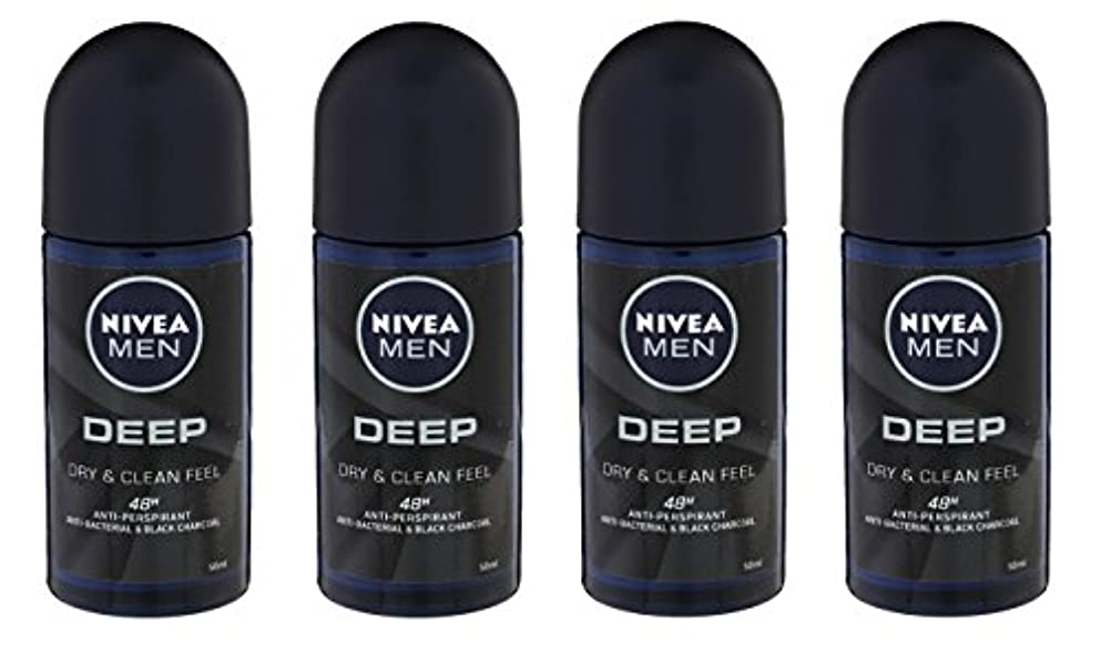 悲惨なスキーム死すべき(Pack of 4) Nivea Deep Anti-perspirant Deodorant Roll On for Men 50ml - (4パック) ニベア深い制汗剤デオドラントロールオン男性用50ml