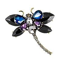 FLAMEER 可愛い トンボブローチピン 女性用 ジュエリー 素敵な 贈り物 全5色 - ブラック