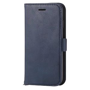 エレコム iPhone8 ケース カバー 手帳型 レザー サイドマグネット スタンド機能付き ICカード iPhone7 対応 ネイビー PM-A17MPLFYNV