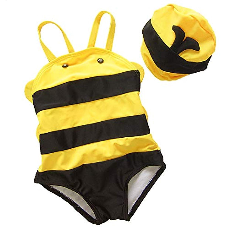 に向かって放棄セレナ女の赤ちゃん水着幼児ワンピース幼児フラミンゴ水着水泳コスチューム (Bees, S)