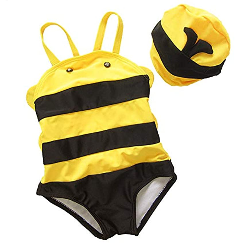オリエンテーションディスカウントエゴマニア女の赤ちゃん水着幼児ワンピース幼児フラミンゴ水着水泳コスチューム (Bees, XL)
