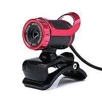 Arong HD画質 ウェブカム Webカメラセット マイク内蔵 12.0M画素 動的解像度640*480 上下30度/左右360度回転 USB (レッド)