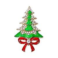 Flyonceレディースオーストリアクリスタルグリーンw/レッドエナメルリボンちょう結びクリスマスツリークリアゴールドトーン