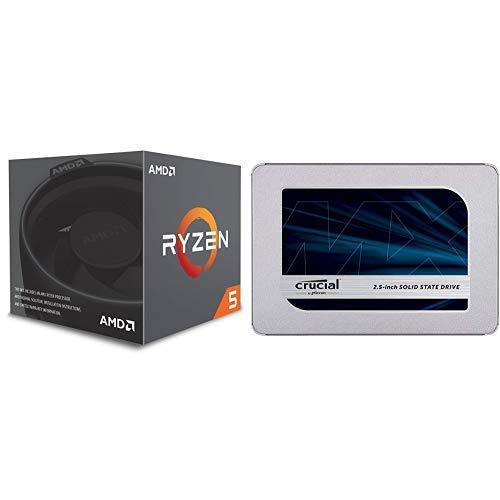 AMD CPU Ryzen 5 2600 with Wraith Stealth cooler YD2600BBAFBOX & Crucial SSD 500GB 7mm   2.5インチ MX500シリーズ SATA3.0 9.5mmアダプター付 CT500MX500SSD1 JP