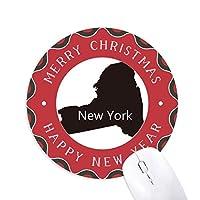 ニューヨーク米国のマップのシルエット 円形滑りゴムのクリスマスマウスパッド