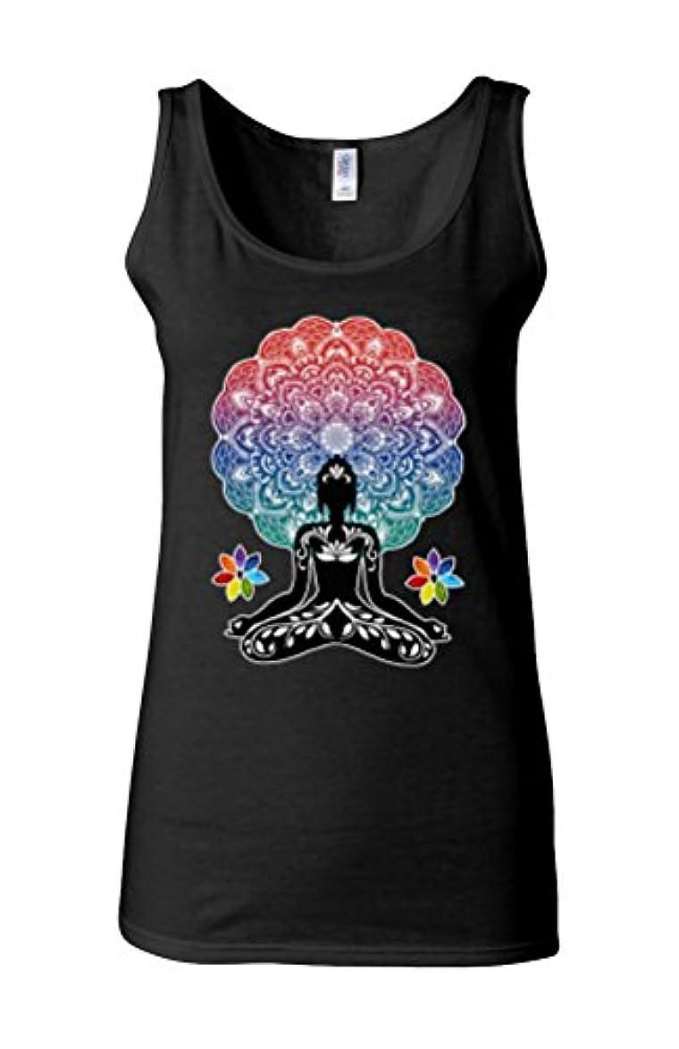 ジェームズダイソン彼女は高いYoga Buddha Chakra Meditation Zen Hobo Boho Novelty Black Women Vest Tank Top-XL