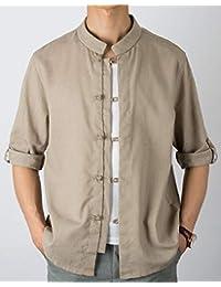 Fly Year-JP メンズ中国スタイルボタンアップスタンドカラーロングスリーブリネンドレスシャツ