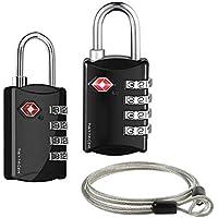 2個セットTSAロック 南京錠4桁ダイヤルロック+ワイヤー 4桁式TSAロック南京錠とワイヤーパーツのセット ワイヤーロックになる 海外旅行用品 トラベルグッズ セキュリティ (ブラック+ブラック)