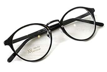 (RAKUGAKI) 伊達メガネ おしゃれ 丸めがね 黒縁 ボストン サングラス ブラック