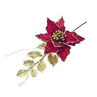 BESTOYARD キラキラポインセチアクリスマスの花と葉クリスマスツリーの装飾人工結婚式のクリスマスパーティの装飾(赤)