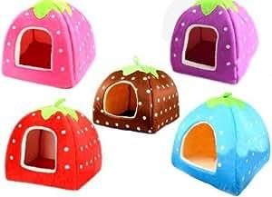 全5カラー 小型犬 猫 小動物 兼用!! いちご型 ふかふかハウス ベッド ソファ  【大サイズ】 MI-ICHIGO-L-RD