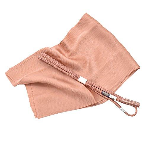 ノーブランド品 女性 帯締め 帯揚 2点セット 別誂え 正絹 草木染め 並尺 花やわらぎ 東雲色
