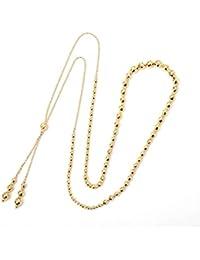 18金 ゴージャス ミラーボール グラデーション ネックレス スライド式 アレンジ自由自在 デザイン ネックレス K18ネックレス ロングネックレス 約70cm~約40cm 頭から被れる 着脱簡単フリーチェーン/かぶってシュー